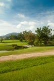 Tropikalny krajobraz z drogą i mostem Fotografia Royalty Free
