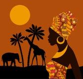tropikalny krajobrazu piękna, czarna kobieta Afrykańska sawanny karta Zdjęcie Royalty Free