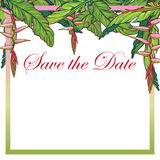 Tropikalny Kwiecisty heliconia kwiatu karty szablon Obraz Royalty Free