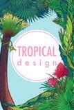 Tropikalny Kwiecisty Ramowy vertical Zdjęcia Royalty Free