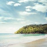 Tropikalny las, denny wybrzeże i góry, Syjamska zatoka, Phangan, Obraz Stock