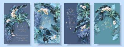 Tropikalny liścia turkus i fiołkowe ślubne karty ilustracja wektor