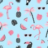 Tropikalny modny wzór z akwarela flamingiem, arbuzów plasterkami i palma liśćmi, ilustracji
