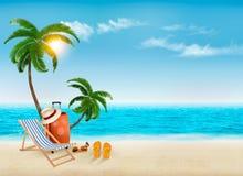 Tropikalny nadmorski z palmami, plażowym krzesłem i walizką, royalty ilustracja