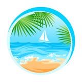 Tropikalny, oceanu, wyspa raj, rejs ilustracji