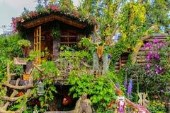 Tropikalny ogród z kolorowymi kwiat roślinami i drzewnym domem obraz royalty free