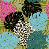 Tropikalny palmy i monstera liścia bezszwowy wzór z lampart skóry teksturą Hawajski projekt, wektorowa ilustracja ilustracji