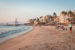 tropikalny park puerto vallarta Najlepszy plaża w Meksyk oceanu Pacific widok Obraz Stock