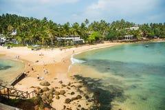 Tropikalny plażowy widok od obserwacja pokładu, horyzontalnego Zdjęcia Royalty Free
