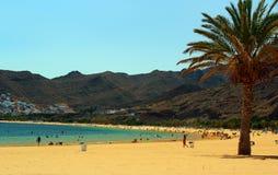 Tropikalny plażowy Playa De Las Teresitas, Tenerife wyspa Zdjęcia Royalty Free