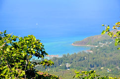 Tropikalny plażowy widok w Seyshelles wyspie Obrazy Royalty Free