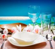 tropikalny położenie dekoracyjny stół Obrazy Stock