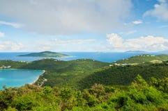 Tropikalny podpalany dukt - St Thomas od gór Fotografia Royalty Free