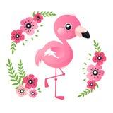 Tropikalny różowy dziecko flaming z kwiatami w wianku ilustracji