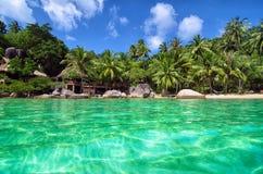 Tropikalny raj z turkus wodą Zielonymi bujny i obraz stock