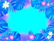 Tropikalny ramowy wektorowy projekt tło z egzotycznymi dżungli palmami opuszcza, monstera, kwiaty Horyzontalna granica Kwiecisty  royalty ilustracja