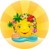 Tropikalny słońce w wianku kwiaty Ilustracji