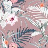 Tropikalny tło z dżungli roślinami Bezszwowy wektorowy tropikalny wzór z palmą opuszcza i egzotyczny poślubnik kwitnie ilustracji