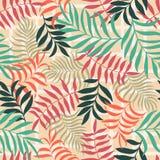 Tropikalny tło z palmowymi liśćmi bezszwowy kwiecisty wzoru S Obraz Stock
