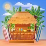 Tropikalny Urlopowy sztandar z plaż drzewkami palmowymi i barem Zdjęcia Stock