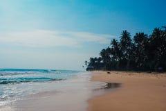Tropikalny urlopowy wakacyjny tło - raj idylliczna plaża Sri Lanka Obraz Royalty Free