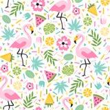 Tropikalny wzór z flamingami Zdjęcie Royalty Free