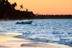 tropikalny zachód słońca na plaży Obraz Stock