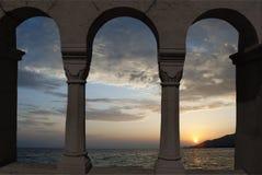 tropikalny zmierzch plażowy denny zmierzch Obraz Royalty Free