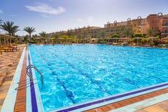Tropikalnych kurortu Trzy kątów Pogodna plaża w Hurghada Obrazy Stock