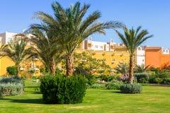 Tropikalnych kurortu Trzy kątów Pogodna plaża w Hurghada Zdjęcie Royalty Free
