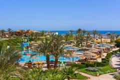 Tropikalnych kurortu Trzy kątów Pogodna plaża w Hurghada Fotografia Stock