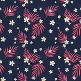 Tropikalnych menchia liści i białych kwiatów bezszwowy wzór Zdjęcia Stock