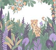Tropiques exotiques L?opard dans la jungle Usines et arbres tropicaux illustration libre de droits