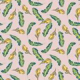 Tropisch bladeren en bloemen naadloos vectorpatroon Royalty-vrije Stock Afbeeldingen