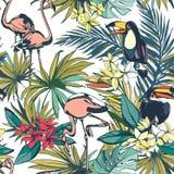 Tropisch bloemen de zomer naadloos patroon met de bladeren van Palm Beach, Stock Afbeeldingen