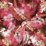 Tropisch bloemen naadloos palmenpatroon in kleuren camouflage als achtergrond Grafische het schilderen uitheemse gewassen en royalty-vrije illustratie