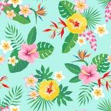 Tropisch bloemenpatroon op aquamarijnachtergrond Royalty-vrije Stock Foto's