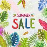 Tropisch de zomerpatroon met bladeren, vectorillustratie Stock Fotografie