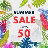 Tropisch de zomerpatroon met bladeren, vectorillustratie Royalty-vrije Stock Foto's