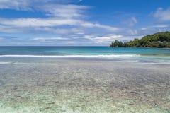 Tropisch die strand met overzees en palm uit hommel wordt genomen Strand en overzees royalty-vrije stock foto's