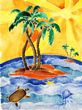 Tropisch eiland. stock illustratie