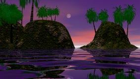 Tropisch eiland bij dageraad Royalty-vrije Stock Afbeeldingen