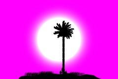 Tropisch eiland bij zonsondergang vector illustratie