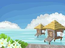 Tropisch eiland in de oceaan met exotische bloemen en bungalow stock illustratie