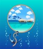 Tropisch eiland en anker Stock Foto