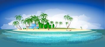 Tropisch eiland en toevlucht met palmen Stock Afbeeldingen