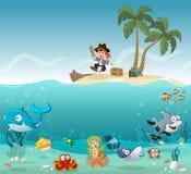 Tropisch eiland met de jongen van de beeldverhaalpiraat royalty-vrije illustratie