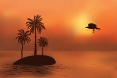 Tropisch eiland met palmen bij zonsondergang Royalty-vrije Stock Foto's