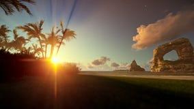 Tropisch eiland met palmen en rotsen in oceaan bij zonsopgang, het filteren stock video