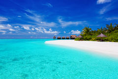 Tropisch eiland met palmen en villa's Royalty-vrije Stock Afbeeldingen